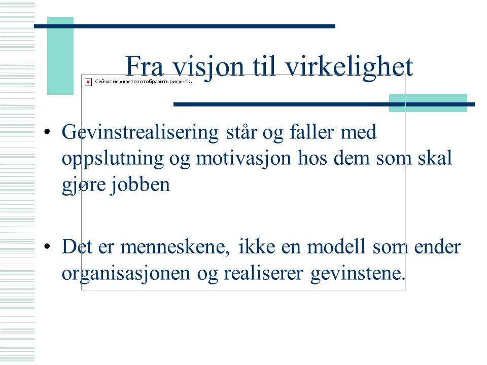 Fra visjon til virkelighet Oslo kommune = 15 mellomstore/store kommuner (26- 46 000 innbyggere pr bydel, totalt 600 000) Informasjonsarbeid Innspill fra høyre og venstre Gitt opplæring til 26 sykehjem Venter på OUS.