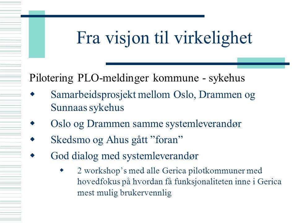 Fra visjon til virkelighet Pilotering PLO-meldinger kommune - sykehus  Samarbeidsprosjekt mellom Oslo, Drammen og Sunnaas sykehus  Oslo og Drammen s