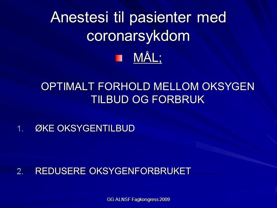 GG ALNSF Fagkongress 2009 Anestesi til pasienter med coronarsykdom MÅL; OPTIMALT FORHOLD MELLOM OKSYGEN TILBUD OG FORBRUK 1.
