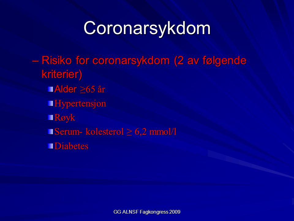 GG ALNSF Fagkongress 2009 Bedre oksygentilbudet Hjertefrekvens –Hindre kirurgisk stress  God og dyp anestesi –  - blokker (Mål : HR ) Blodtrykk –Vasokonstriktorer evt inotropi Motstand (coronarkar) –Coronare vasodilatatorer (nitroglyserin) –Trombose profylakse O2- innhold i blodet –Hb (blødning evt transfusjoner, Hb>10) –God oksygenering