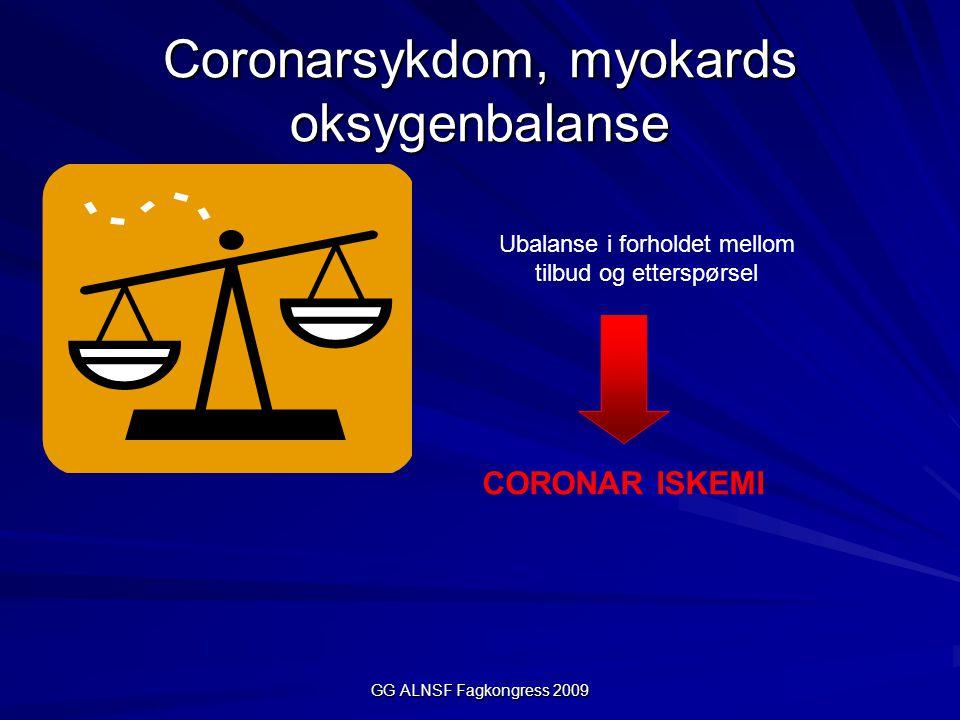 GG ALNSF Fagkongress 2009 Coronarsykdom og myokards oksygenbalanse Oksygentilbud Oksygenforbruk