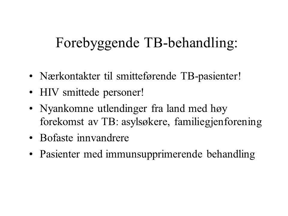 Forebyggende TB-behandling: Nærkontakter til smitteførende TB-pasienter! HIV smittede personer! Nyankomne utlendinger fra land med høy forekomst av TB