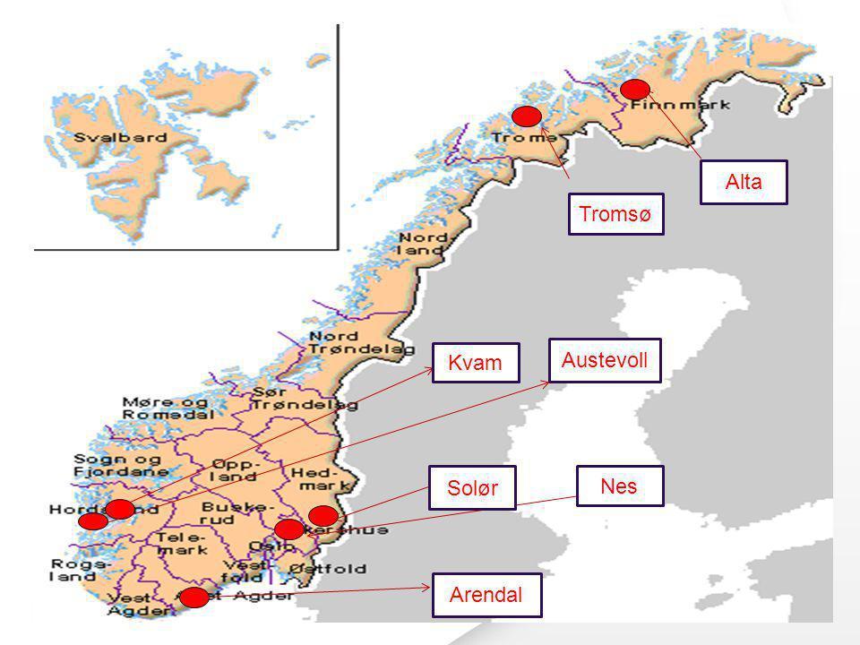 Alta Tromsø Kvam Austevoll Solør Nes Arendal