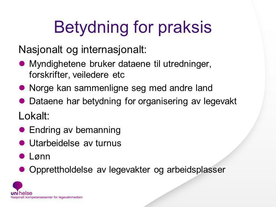 Betydning for praksis Nasjonalt og internasjonalt: Myndighetene bruker dataene til utredninger, forskrifter, veiledere etc Norge kan sammenligne seg m