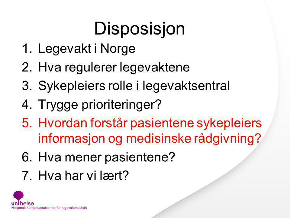 Disposisjon 1.Legevakt i Norge 2.Hva regulerer legevaktene 3.Sykepleiers rolle i legevaktsentral 4.Trygge prioriteringer? 5.Hvordan forstår pasientene
