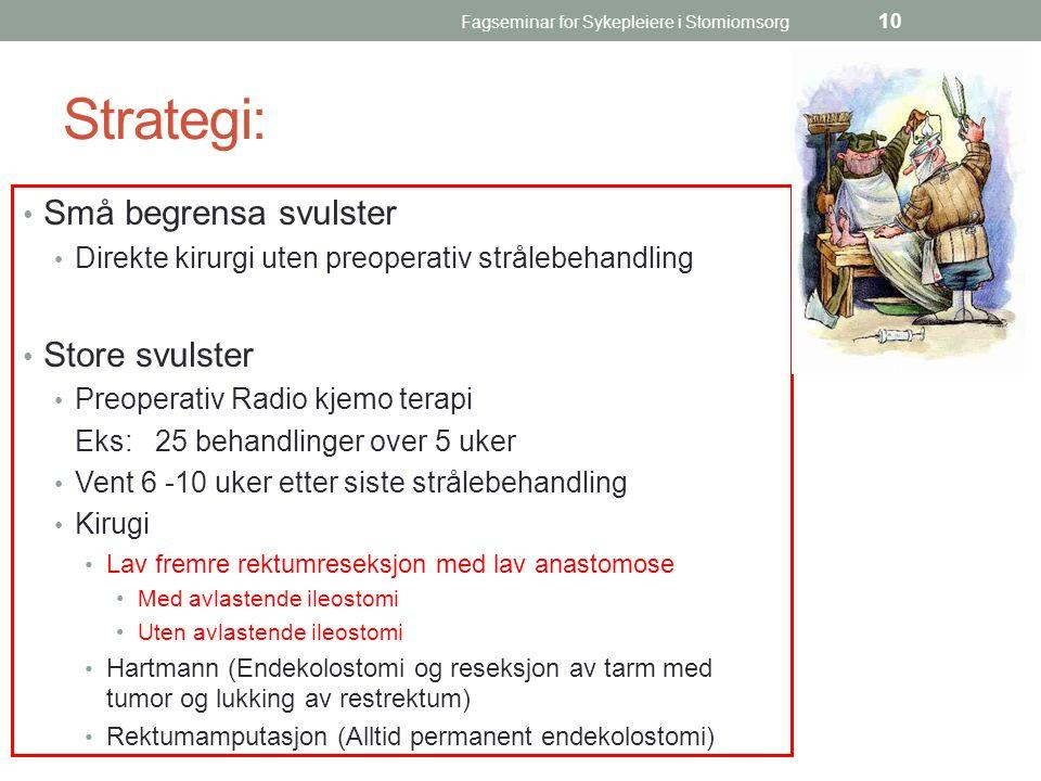 Fagseminar for Sykepleiere i Stomiomsorg 10 Strategi: Små begrensa svulster Direkte kirurgi uten preoperativ strålebehandling Store svulster Preoperat