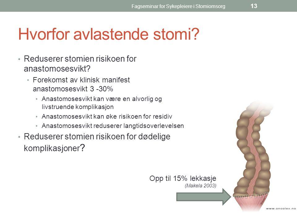 Fagseminar for Sykepleiere i Stomiomsorg 13 Hvorfor avlastende stomi? Reduserer stomien risikoen for anastomosesvikt? Forekomst av klinisk manifest an
