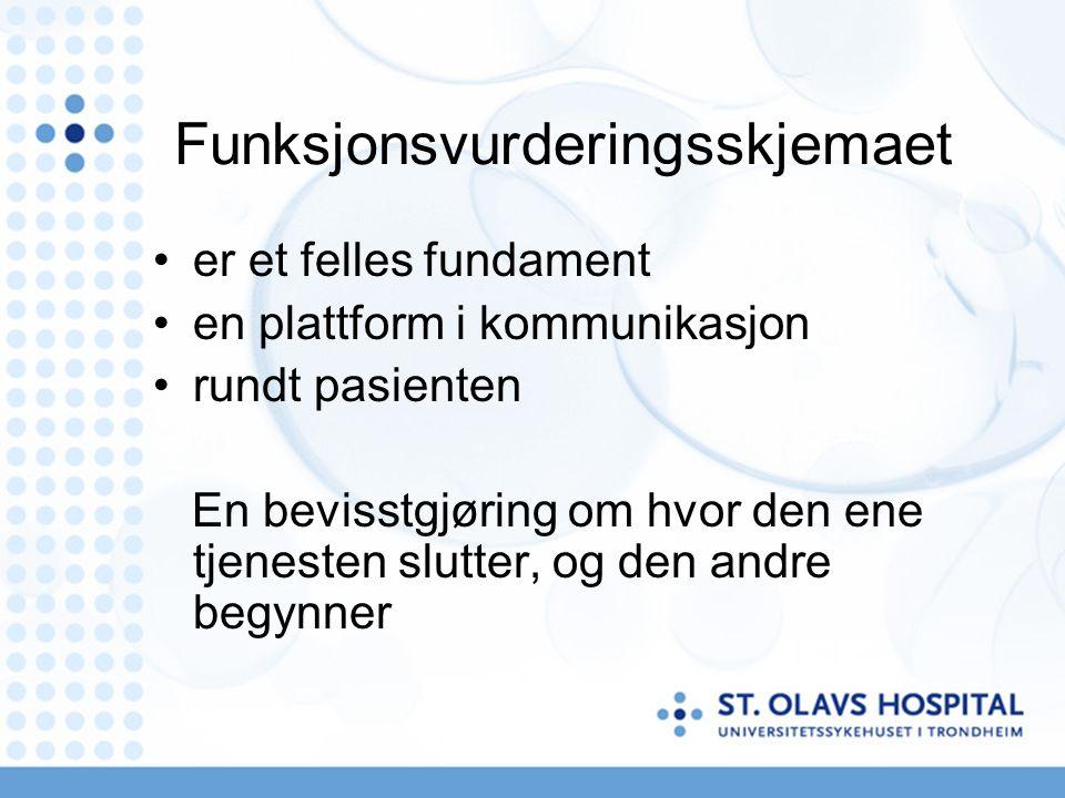 Funksjonsvurderingsskjemaet er et felles fundament en plattform i kommunikasjon rundt pasienten En bevisstgjøring om hvor den ene tjenesten slutter, o
