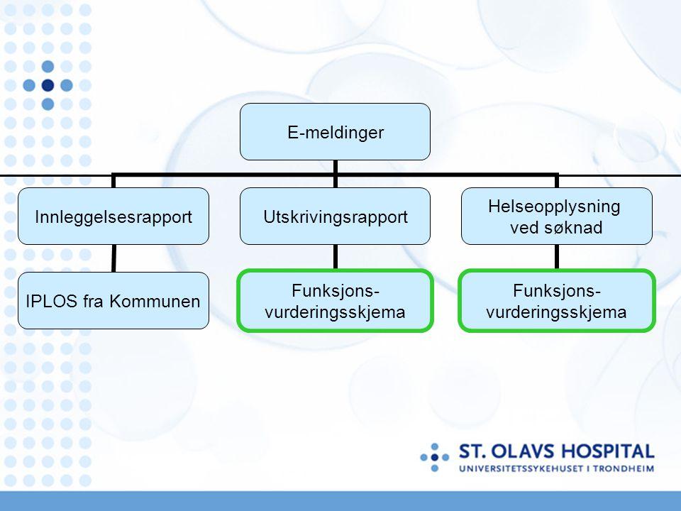 E-meldinger Innleggelsesrapport IPLOS fra Kommunen Utskrivingsrapport Funksjons- vurderingsskjema Helseopplysning ved søknad Funksjons- vurderingsskje