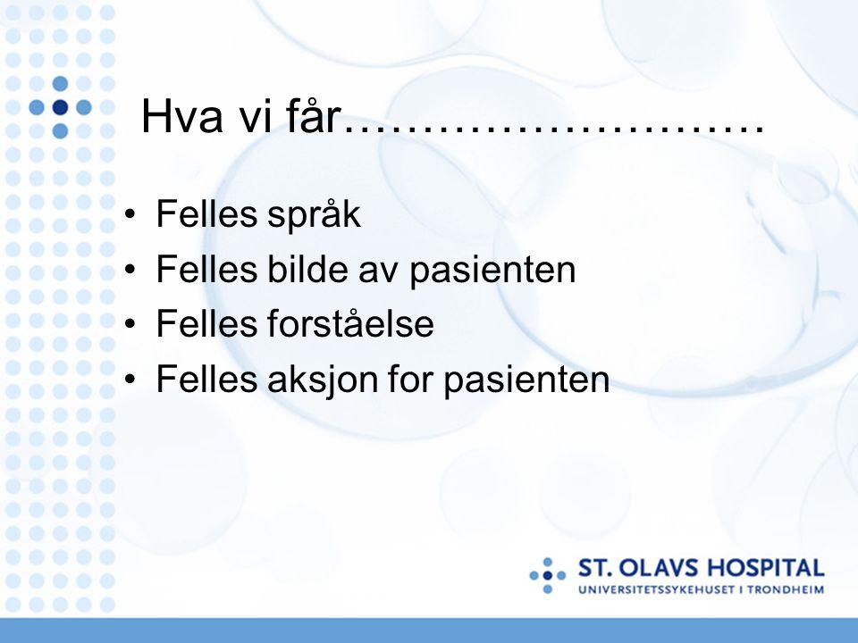 Hva vi får……………………… Felles språk Felles bilde av pasienten Felles forståelse Felles aksjon for pasienten