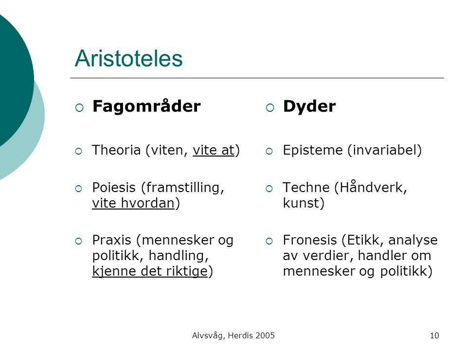 Alvsvåg, Herdis 200510 Aristoteles  Fagområder  Theoria (viten, vite at)  Poiesis (framstilling, vite hvordan)  Praxis (mennesker og politikk, han