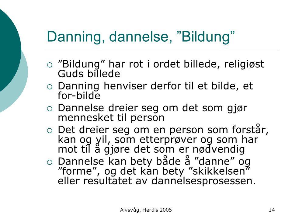 """Alvsvåg, Herdis 200514 Danning, dannelse, """"Bildung""""  """"Bildung"""" har rot i ordet billede, religiøst Guds billede  Danning henviser derfor til et bilde"""