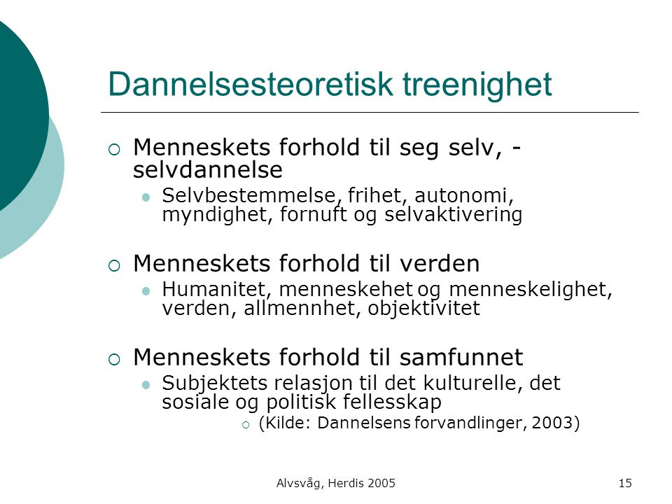 Alvsvåg, Herdis 200515 Dannelsesteoretisk treenighet  Menneskets forhold til seg selv, - selvdannelse Selvbestemmelse, frihet, autonomi, myndighet, f