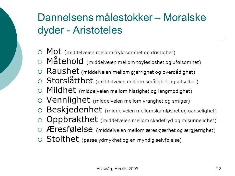 Alvsvåg, Herdis 200522 Dannelsens målestokker – Moralske dyder - Aristoteles  Mot ( middelveien mellom fryktsomhet og dristighet)  Måtehold (middelv