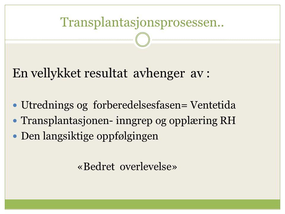 Transplantasjonsprosessen.. En vellykket resultat avhenger av : Utrednings og forberedelsesfasen= Ventetida Transplantasjonen- inngrep og opplæring RH