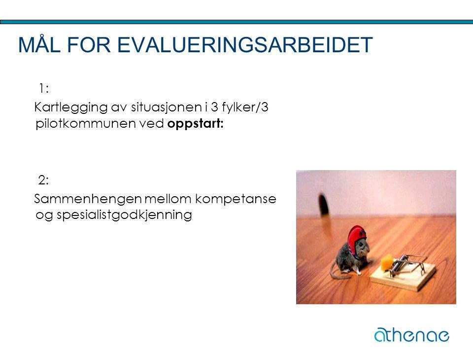 MÅL FOR EVALUERINGSARBEIDET 1: Kartlegging av situasjonen i 3 fylker/3 pilotkommunen ved oppstart: 2: Sammenhengen mellom kompetanse og spesialistgodk