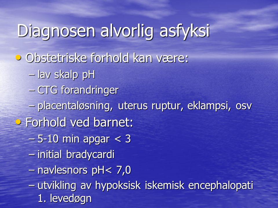 Diagnosen alvorlig asfyksi Obstetriske forhold kan være: Obstetriske forhold kan være: –lav skalp pH –CTG forandringer –placentaløsning, uterus ruptur, eklampsi, osv Forhold ved barnet: Forhold ved barnet: –5-10 min apgar < 3 –initial bradycardi –navlesnors pH< 7,0 –utvikling av hypoksisk iskemisk encephalopati 1.