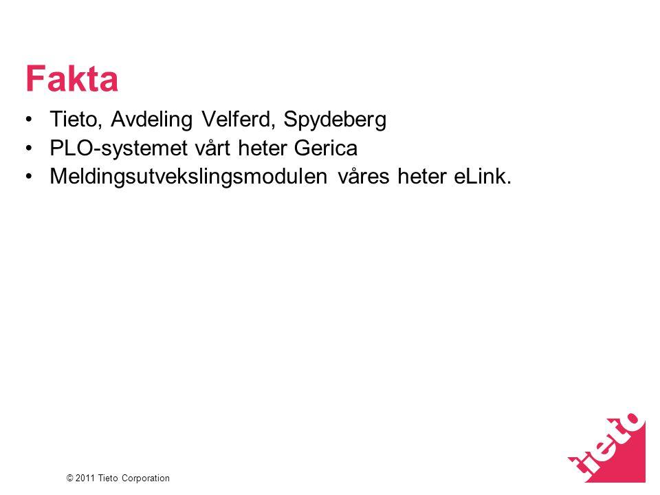 © 2011 Tieto Corporation Fakta Tieto, Avdeling Velferd, Spydeberg PLO-systemet vårt heter Gerica Meldingsutvekslingsmodulen våres heter eLink.