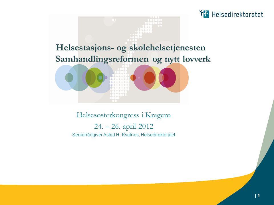 | 1 Helsesøsterkongress i Kragerø 24. – 26. april 2012 Seniorrådgiver Astrid H. Kvalnes, Helsedirektoratet Helsestasjons- og skolehelsetjenesten Samha