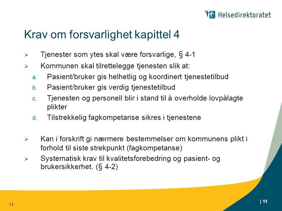 | 11 Krav om forsvarlighet kapittel 4  Tjenester som ytes skal være forsvarlige, § 4-1  Kommunen skal tilrettelegge tjenesten slik at: a. Pasient/br