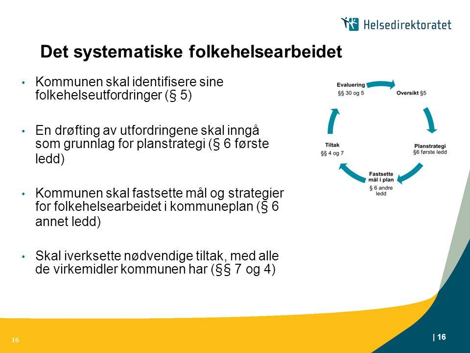 | 16 Det systematiske folkehelsearbeidet Kommunen skal identifisere sine folkehelseutfordringer (§ 5) En drøfting av utfordringene skal inngå som grun