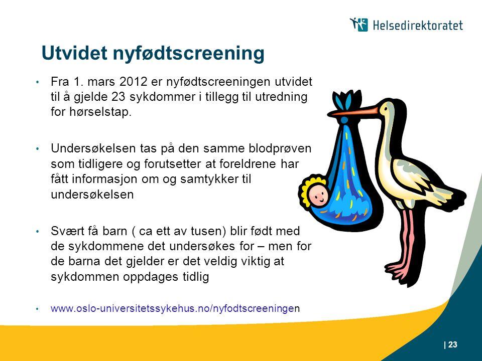 | 23 Utvidet nyfødtscreening Fra 1. mars 2012 er nyfødtscreeningen utvidet til å gjelde 23 sykdommer i tillegg til utredning for hørselstap. Undersøke