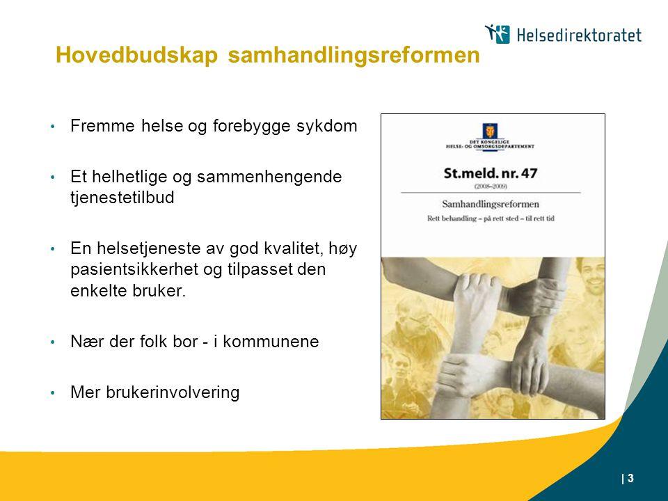 | 3 Hovedbudskap samhandlingsreformen Fremme helse og forebygge sykdom Et helhetlige og sammenhengende tjenestetilbud En helsetjeneste av god kvalitet