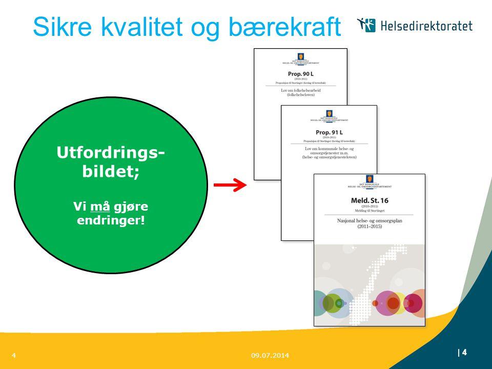 | 4 Sikre kvalitet og bærekraft 09.07.20144 Utfordrings- bildet; Vi må gjøre endringer!