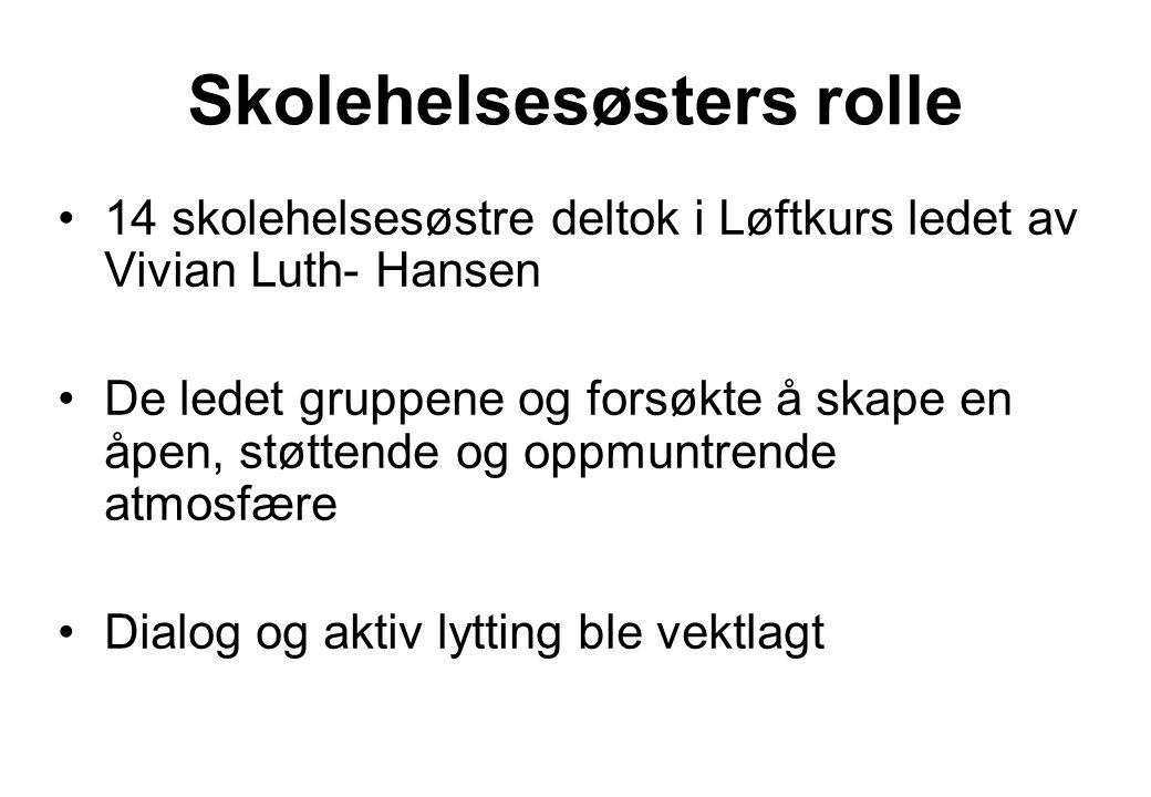 Skolehelsesøsters rolle 14 skolehelsesøstre deltok i Løftkurs ledet av Vivian Luth- Hansen De ledet gruppene og forsøkte å skape en åpen, støttende og
