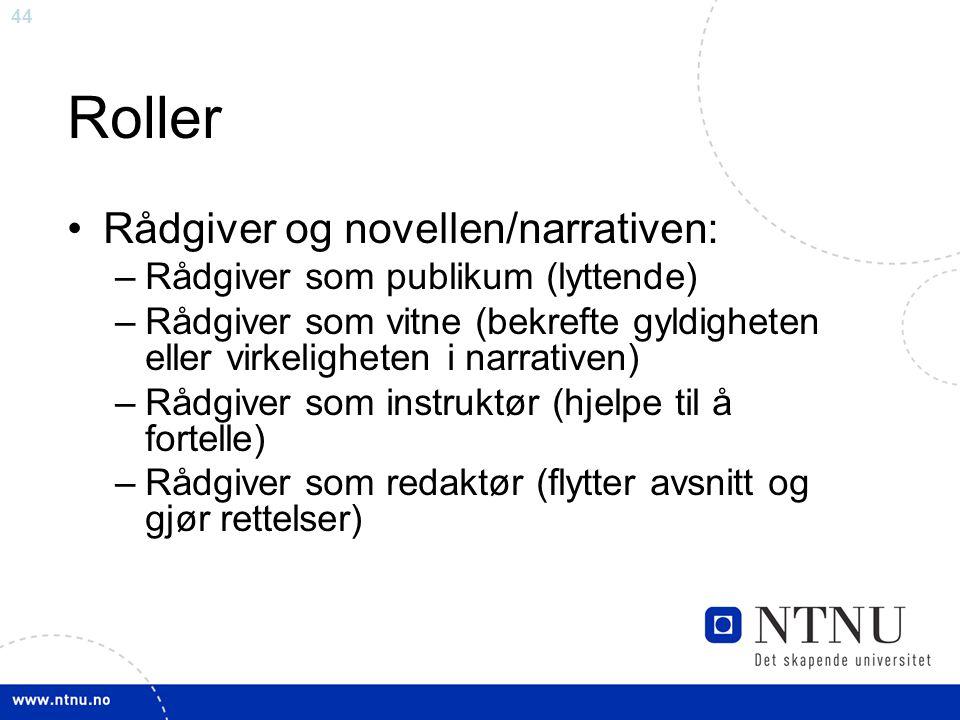 44 Roller Rådgiver og novellen/narrativen: –Rådgiver som publikum (lyttende) –Rådgiver som vitne (bekrefte gyldigheten eller virkeligheten i narrative