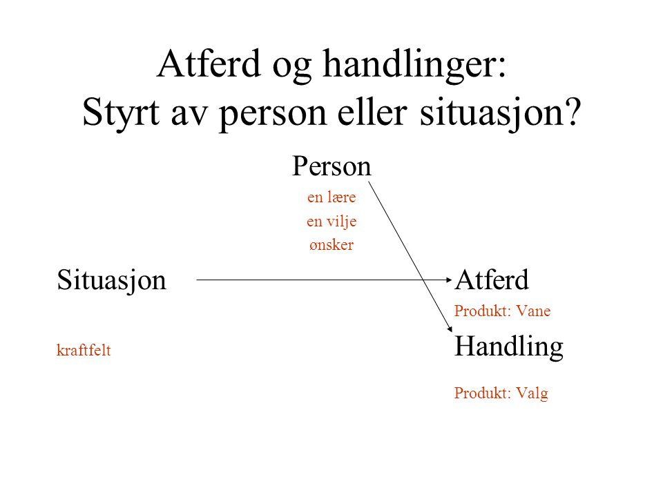 Atferd og handlinger: Styrt av person eller situasjon? Person en lære en vilje ønsker SituasjonAtferd Produkt: Vane kraftfelt Handling Produkt: Valg