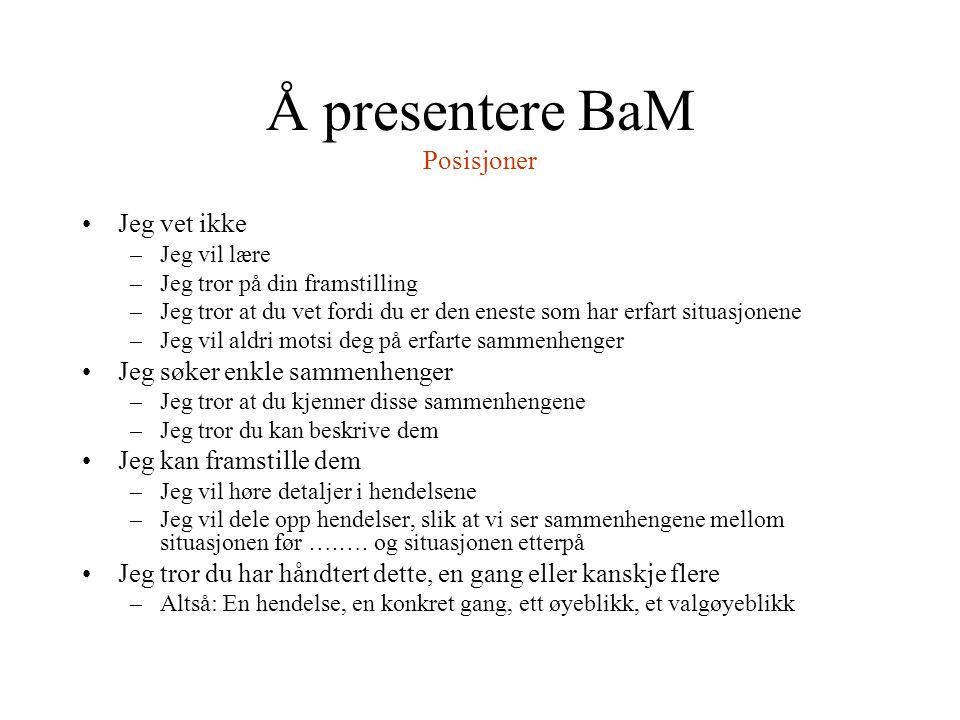 Å presentere BaM Posisjoner Jeg vet ikke –Jeg vil lære –Jeg tror på din framstilling –Jeg tror at du vet fordi du er den eneste som har erfart situasj