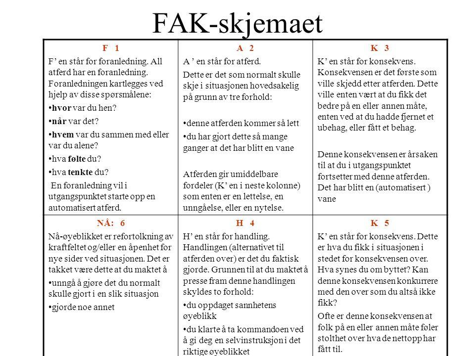 FAK-skjemaet F 1 F' en står for foranledning. All atferd har en foranledning. Foranledningen kartlegges ved hjelp av disse spørsmålene: hvor var du he