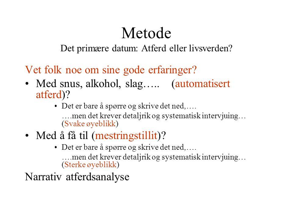 Metode Det primære datum: Atferd eller livsverden.
