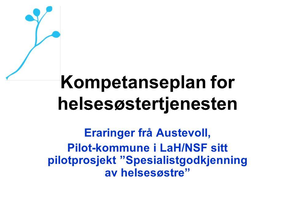 """Kompetanseplan for helsesøstertjenesten Eraringer frå Austevoll, Pilot-kommune i LaH/NSF sitt pilotprosjekt """"Spesialistgodkjenning av helsesøstre"""""""