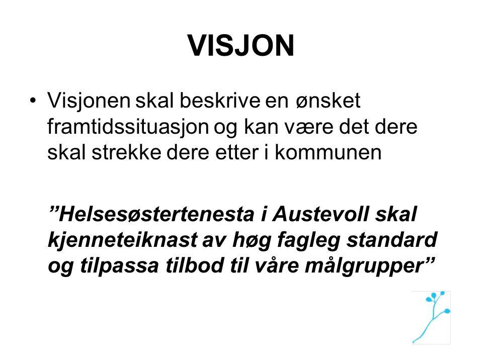 """VISJON Visjonen skal beskrive en ønsket framtidssituasjon og kan være det dere skal strekke dere etter i kommunen """"Helsesøstertenesta i Austevoll skal"""