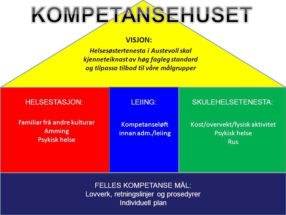 FELLES KOMPETANSE MÅL: Lovverk, retningslinjer og prosedyrer Individuell plan HELSESTASJON:LEIING:SKULEHELSETENESTA: Kost/overvekt/fysisk aktivitet Ps