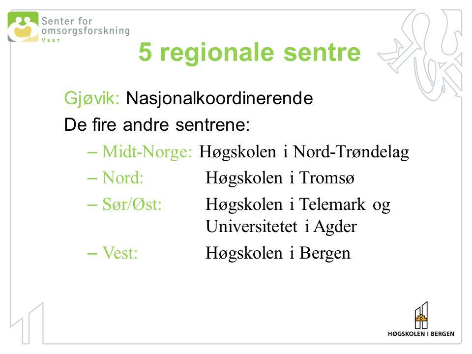 5 regionale sentre Gjøvik: Nasjonalkoordinerende De fire andre sentrene: – Midt-Norge: Høgskolen i Nord-Trøndelag – Nord: Høgskolen i Tromsø – Sør/Øst: Høgskolen i Telemark og Universitetet i Agder – Vest:Høgskolen i Bergen