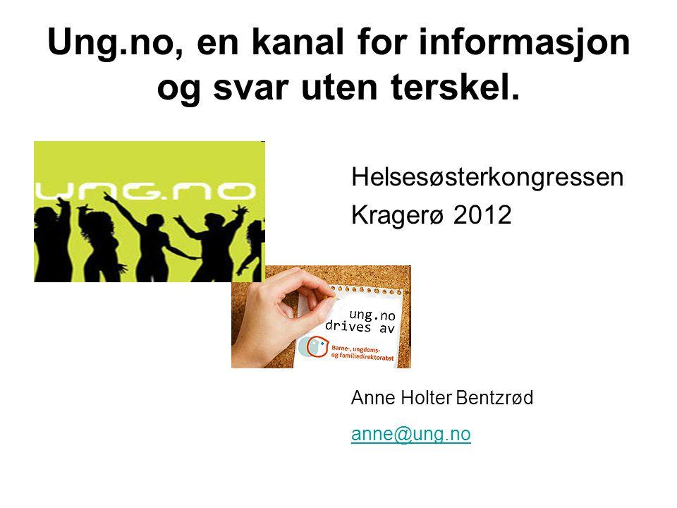 Ung.no, en kanal for informasjon og svar uten terskel. Helsesøsterkongressen Kragerø 2012 Anne Holter Bentzrød anne@ung.no