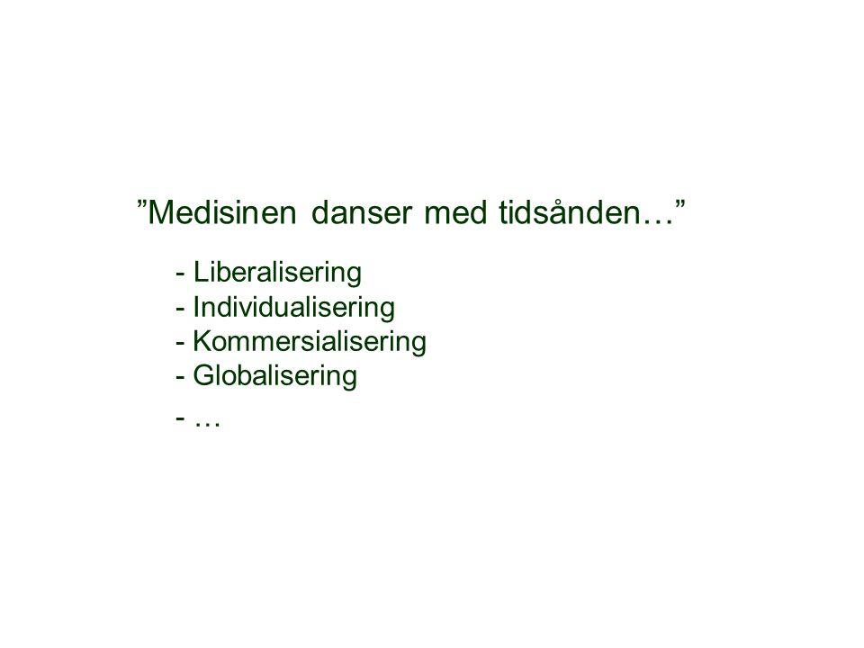 """""""Medisinen danser med tidsånden…"""" - Liberalisering - Individualisering - Kommersialisering - Globalisering - …"""