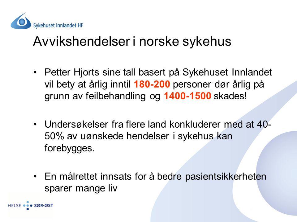 Avvikshendelser i norske sykehus Petter Hjorts sine tall basert på Sykehuset Innlandet vil bety at årlig inntil 180-200 personer dør årlig på grunn av