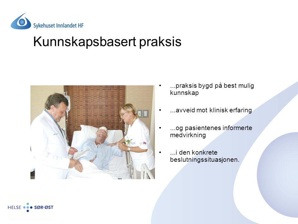Kunnskapsbasert praksis...praksis bygd på best mulig kunnskap...avveid mot klinisk erfaring...og pasientenes informerte medvirkning...i den konkrete b