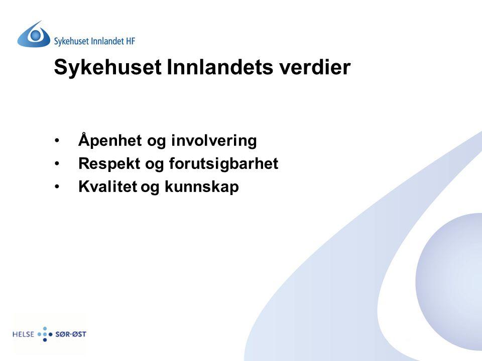Sykehuset Innlandets verdier Åpenhet og involvering Respekt og forutsigbarhet Kvalitet og kunnskap