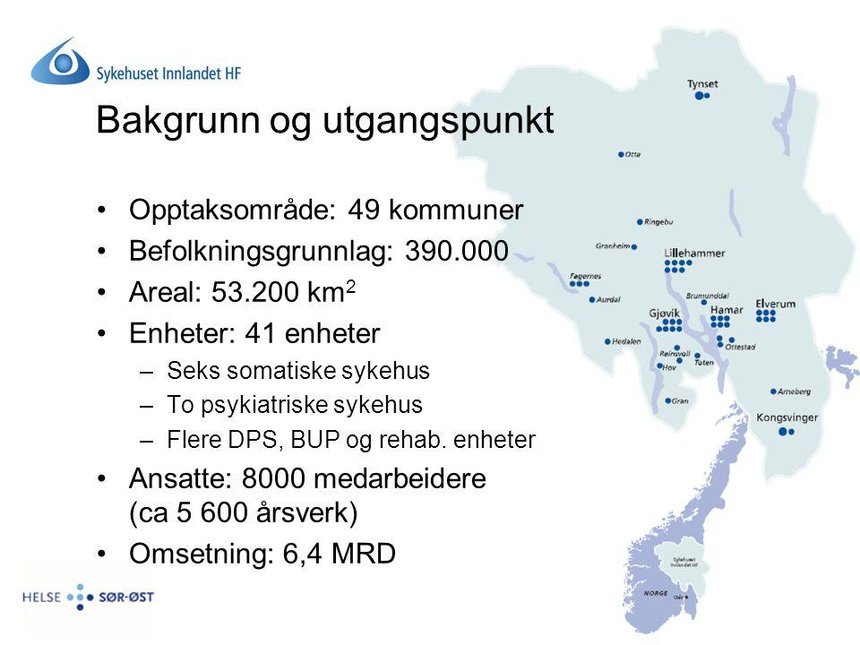Bakgrunn og utgangspunkt Opptaksområde: 49 kommuner Befolkningsgrunnlag: 390.000 Areal: 53.200 km 2 Enheter: 41 enheter –Seks somatiske sykehus –To ps