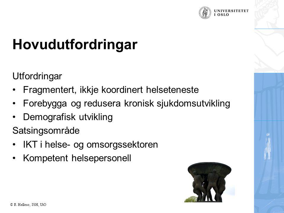 © R Hellesø, ISH, UiO Hovudutfordringar Utfordringar Fragmentert, ikkje koordinert helseteneste Forebygga og redusera kronisk sjukdomsutvikling Demografisk utvikling Satsingsområde IKT i helse- og omsorgssektoren Kompetent helsepersonell