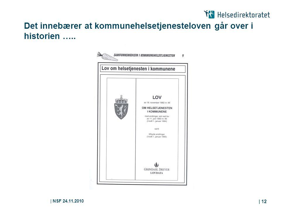 | NSF 24.11.2010 | 12 Det innebærer at kommunehelsetjenesteloven går over i historien …..