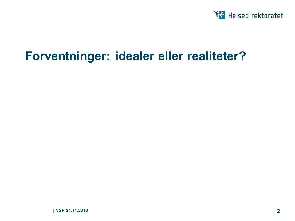 | NSF 24.11.2010 | 2 Forventninger: idealer eller realiteter?