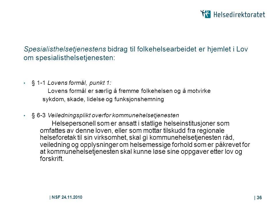 | NSF 24.11.2010 | 36 Spesialisthelsetjenestens bidrag til folkehelsearbeidet er hjemlet i Lov om spesialisthelsetjenesten: § 1-1 Lovens formål, punkt