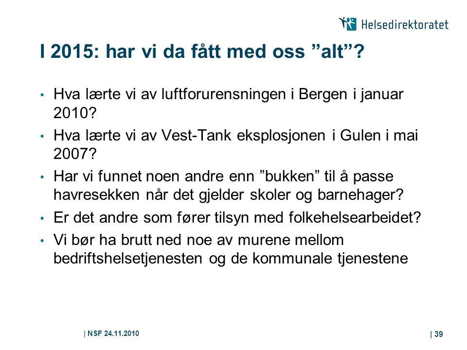 """  NSF 24.11.2010   39 I 2015: har vi da fått med oss """"alt""""? Hva lærte vi av luftforurensningen i Bergen i januar 2010? Hva lærte vi av Vest-Tank ekspl"""