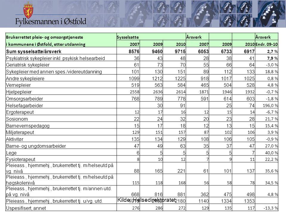 Brukerrettet pleie- og omsorgstjenesteSysselsatte Årsverk i kommunene i Østfold, etter utdanning200720092010200720092010Endr.